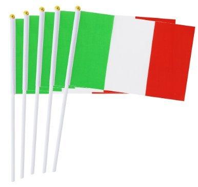 50 PCS Mini Italia Flag,Bandiera Italiana con Bastone 5,5 x 8,3 Pollici Bandiera Piccola a Mano