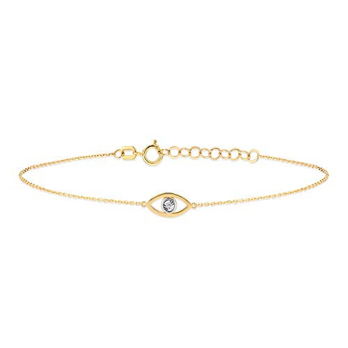 Gelin - Pulsera para mujer de oro amarillo 585 de 14 quilates, amuleto contra el mal de ojo de Nazar