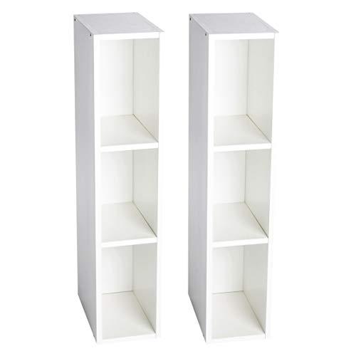 Puckdaddy Stauraumregal Lasse 2er Set – 19x30x93 cm, Stand-Regal aus Holz in Weiß passend zu IKEA Hemnes Kommode, Fächerregal für Wickelkommoden, Wickeltisch-Regal zur Kinderzimmer-Aufbewahrung
