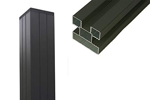 woodstore24 Universal WPC Zaun Pfosten (Aluminium) für Sichtschutz/Steckzaun, 68 x 68 x 1400 mm, anthrazit pulverbeschichtet, mit Pfostenkappe