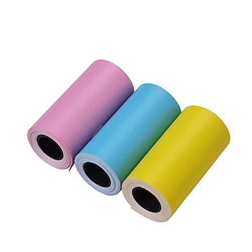 Aibecy Peripage Thermopapier Farbaufkleber Papierrolle mit selbstklebendem 57 * 30 mm für PeriPage A6 Pocket Thermodrucker für PAPERANG P1 / P2 Mini-Fotodrucker, 3 Rollen (Mehrfarbig)