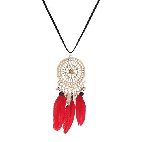 Plumas Elegantes con Cuentas largas Cadena Negra Borla Collares para Mujeres Accesorios de Oficina Bohemia Disfraces Joyas Bijoux, XL908A