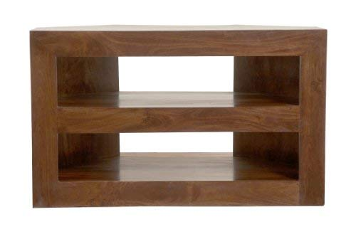 HOMESCAPES Dakota Dark Wood Corner TV Unit For Living Room Solid Mango Wood Television Stand With Shelves (No Veneer)