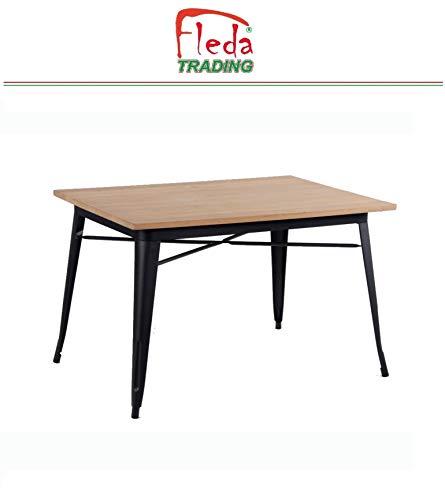 Fleda TRADING eettafel, restauranttafel, industriële stijl TOLIX-type met blad van natuurlijk hout en matzwarte kleurstructuur afm. Cm. 120x80x76h