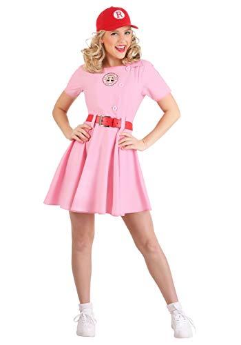 Adult A League of Their Own Rockford Peaches Costume for Women, Baseball Costume Uniform Dress Belt Hat Medium Pink
