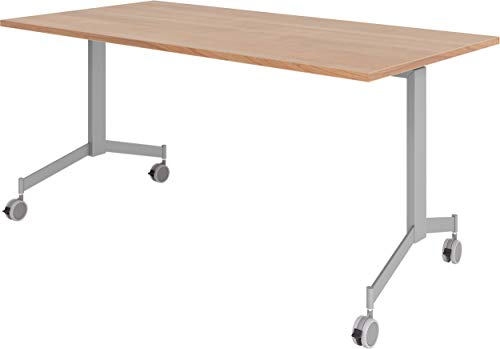 bümö Klapptisch fahrbar 160 x 80 cm - mobiler Konferenztisch klappbar & rollbar   Meetingtisch massiv mit Rollen (Nussbaum)