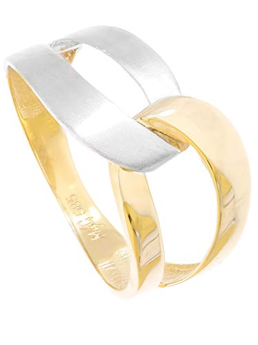 Ring Goldring Gelbgold Weißgold 585 Gold (14 Karat) Bicolor Ohne Stein Matt Glanz Schlicht Damenringe Goldringe Gr. 56 Illos R-07930-G463-W56