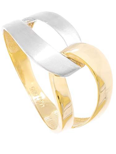 MyGold Ring Goldring Gelbgold Weißgold 585 Gold (14 Karat) Bicolor Ohne Stein Matt Glanz Schlicht Damenringe Goldringe Gr. 54 Illos R-07930-G463-W54