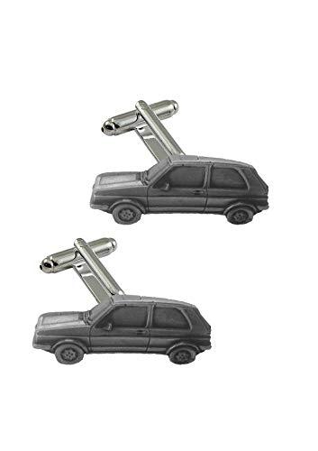 Manschettenknöpfe mit klassischem Auto Golf GTI MK2 ref300 Zinn Effekt