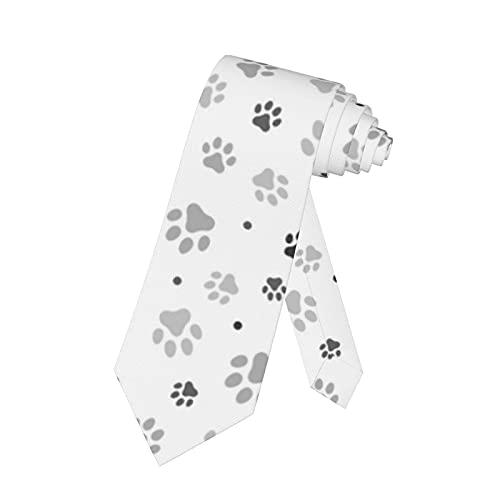 LKKPT Corbata para hombre Huellas de perro gris negro sobre corbata blanca...