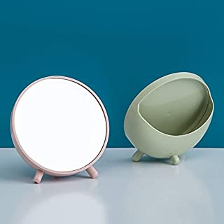 Household Portable Plastic Makeup Mirror Simple Multifunctional Round Desktop Cosmetic Mirror 2020 New (Color : Beige)