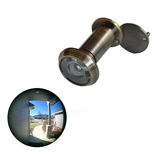 TOGU TG2814YG-AB Brass UL Listed 220-degree Door Viewer with Heavy Duty Privacy Cover for 1-3/8' to 2-1/6' Doors, Antique Bronze Finish