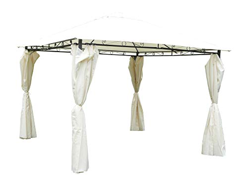 Maffei Art 380 SUNNY. Square gazebo cm.300x300, polyester fabric, 4 steel poles, steel roof. Side curtains included. Made in China. Colour ecru (beige)