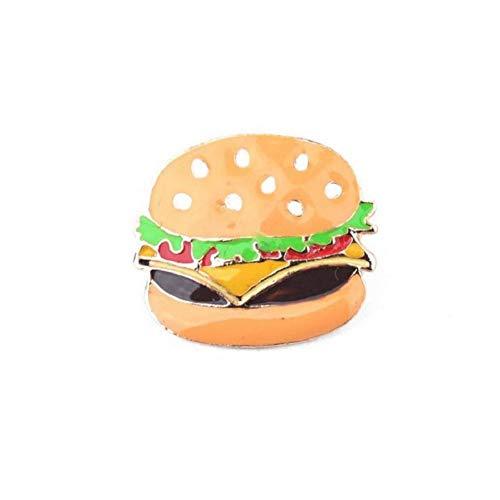 WYLBQM Broche Schmuck Pizza Burger Hunde Pochierte Eier Pumps Emaille Hut Hemdkragen Tasche Brosche Kette Fast Food Schmuck