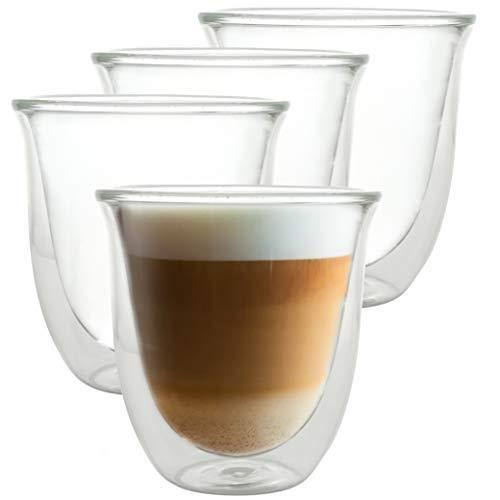 Caffé Italia Napoli - 4X Tasse Verre Double Paroi 250 ML - Tasse a Cafe pour de Latte Macchiato, Boissons Chaudes et Froides - Lavable au Lave-Vaisselle.