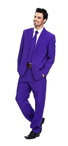 Men's Party Suit Solid Color Prom Suit for Themed Party Events Clubbing Jacket with Tie Pants- Purple X-Large