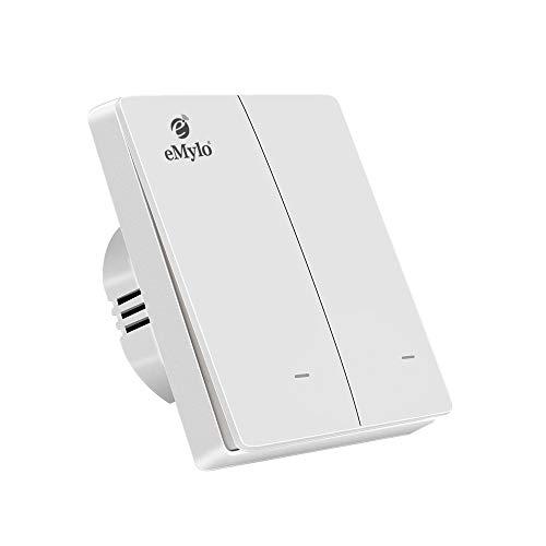 eMylo Zigbee Smart Switch Interruptor de luz de pared inalámbrico Control remoto Botón pulsador Rocker Funciona con Zigbee Central Hub Control de voz compatible con Alexa / Google Home (2 Gang)
