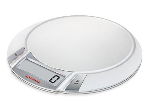 Soehnle Digitale Küchenwaage Olympia mit 5 Kilo Tragkraft und 1-g-Wiegepräzision, Waage mit großer Wiegefläche, elegante Waage für die Küche mit LCD-Anzeige und Abschaltautomatik, weiß