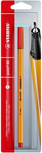 Caneta Hidrográfica Point 88, Stabilo, Vermelho Claro, Blister c/1 unidade