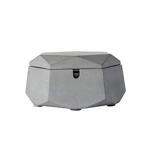 ZXL Asbak Cementacup, Geschikt voor keuken/woonkamer salontafel/wit staal met deksel Wit geometrische asbak (Kleur: Wit-12x5, 5CM)