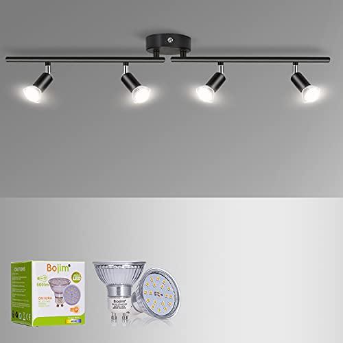 Bojim Lámpara de Techo LED 4 Focos Mate Negro, focos ajustables y giratorios para Cocina Dormitorio Sala de Estar, 4500K Blanco Natural 6W GU10 220V-240V IP20 600lm barra de focos, Bombillas Incluidas