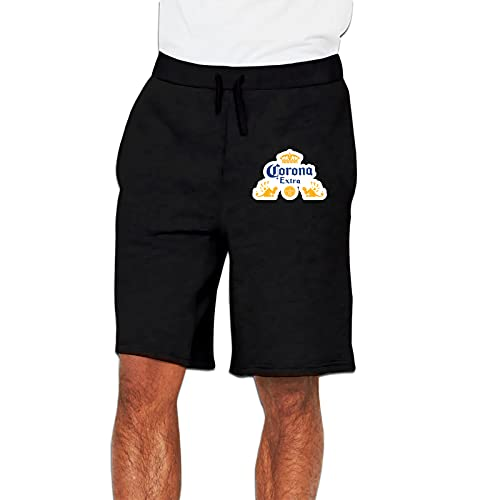 Corona and Extra Beer Men's Soft Casual Athletic Shorts Pants Sweatpants with Pocket Black