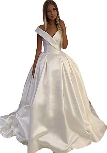 V Neck Off the Shoulder Dress Wedding Ball Gown