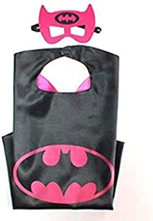 Double sided Kids or adults mini funny Batgirl batman comic superhero costume with mask and cape