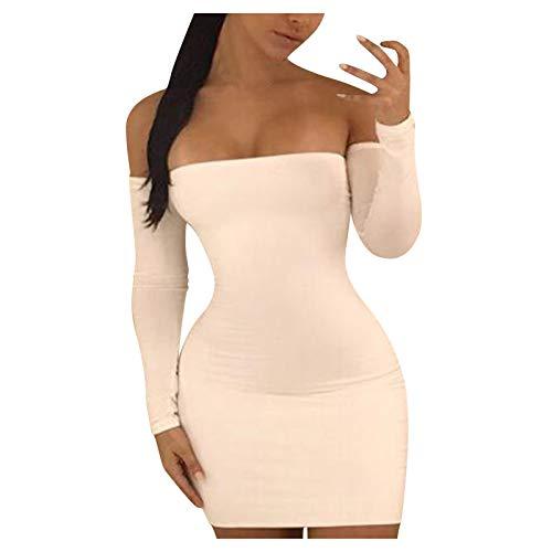 HeroHarold Vestido sexy para mujer, con hombros descubiertos, con tirantes cruzados, manga larga, sin espalda, con cordones, para club, bodycon, mini vestido