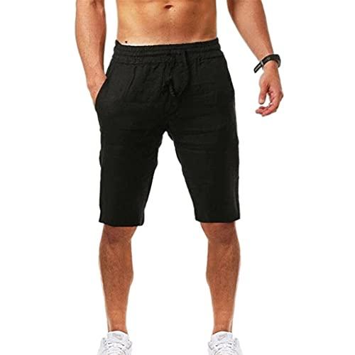 N\P Pantalones cortos deportivos casuales de algodón transpirable de cáñamo para hombre, Negro, XX-Large