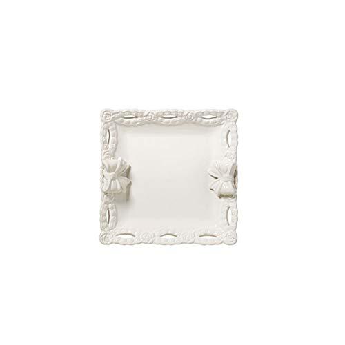 L'ARTE DI NACCHI Bandeja cuadrada con copos de cerámica blanca 20 x 20 x 5 cm KF-42