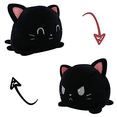 KUNSTIFY Gato de peluche reversible para niñas, mujeres, niños y bebés, regalo para novia, gato, negro