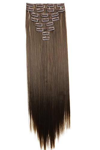 PRETTYSHOP XXL 60cm 8 Teile Set CLIP IN EXTENSIONS Haarverlängerung Haarteil Glatt Braun Mix CES18