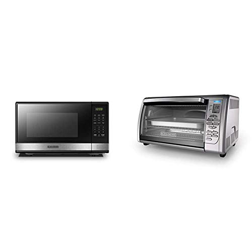 BLACK+DECKER EM031MB11 Digital Microwave Oven with Turntable Push-Button Door,Child Safety Lock,1000W,1.1cu.ft,Stainless Steel, 1.1 Cu.Ft & Countertop Convection Toaster Oven, Silver, CTO6335S