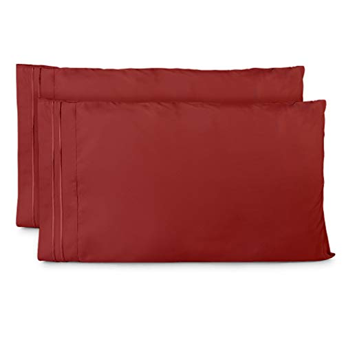 Cosy House Collection Pillowcases Standard Size - Burgundy Luxury Pillow Case Set of 2 - Fits Queen Size Pillows - Premium Super Soft Hotel Quality - Cool & Wrinkle Free - Hypoallergenic