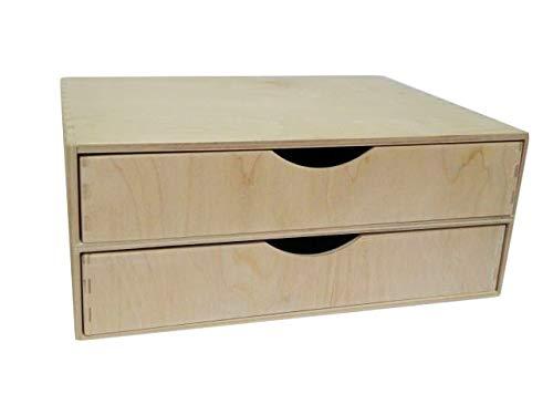 A4 Doble cajón de madera – Caja, Escritorio, Oficina, Almacenamiento, Decoupage, Sin pintar - ancho