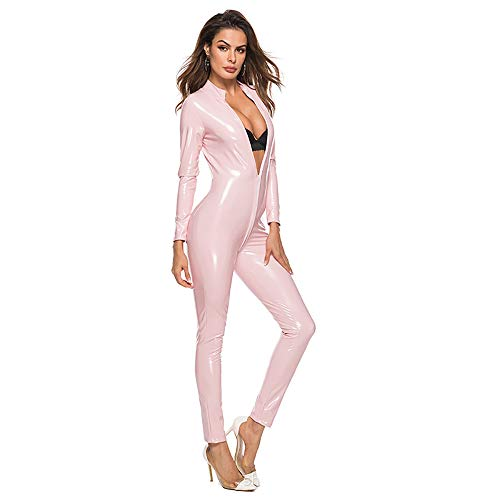 HJG Womens Kunstleder Wet Look Catsuit, Catwoman Kostüm Frauen mit Reißverschluss Catsuit Adult Cosplay,Pink,L