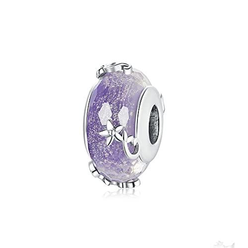 LISHOU Cristal Púrpura Dream Charm Cuentas De Forma Redonda 100% 925 Colgantes De Encantos De Plata Esterlina para Hacer Joyas Se Adapta Al Brazalete De Pulseras Originales De Europa
