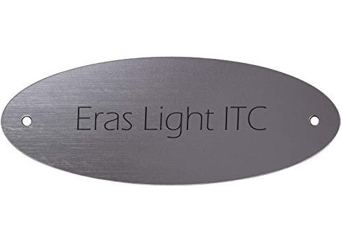 Targa campanello con incisione personalizzata, plastica argentata metallizzata, 115 x 45 mm, ovale, testo inciso nero, carattere: Eras Light ITC