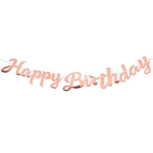 Happy Birthday Banner Joyeux Anniversaire Bannière Banderole d'Anniversaire Glitter Décorations de Fête d'Anniversaires Party pour Filles Garçons Adultes - Or Rose