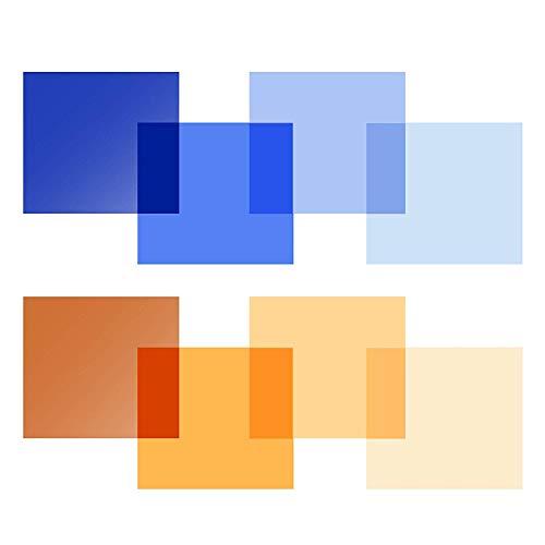 Selens 40x50cm Farbfolie Farbfilter 8 Stück Transparente Farbkorrektur Beleuchtungs Blitz Folien Farbfolien für 800W Rot Licht Stroboskop Taschenlampe Flash Fotostudio Fotografie Blau&Orange