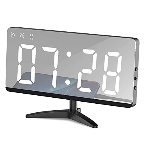 HBOY Reloj Despertador Digital LED Espejo Despertador Moderno con Puerto USB, Función De Memoria/Alarma Automática, 3 Modos De Ciclo De Brillo Ajustables,Blanco