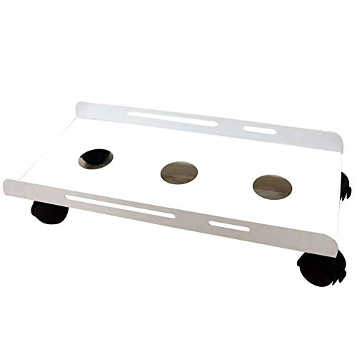 MHBGX Multifunction Portable Hand Trucks,Trolleytransport Roller Steel Dolly Dollies Iron with Guardrail Main Chassis Base Lightweight Brake Wheel Home, 4 Sizes,White,50X24.5X11Cm