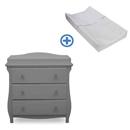Cheapest Price! Delta Children Lancaster 3 Drawer Dresser with Changing Top, Grey and Contoured Chan...
