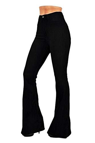 Sevozimda Pantalones Vaqueros Ajustados De Cintura Alta para Mujer Negro L