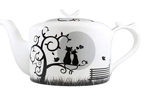 Jameson & Tailor Retro Teekanne oval Kaffeekanne Katzen im Mondschein Brillant-Porzellan 1200ml Füllmenge
