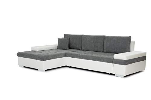 Honeypot - Sofabed - Bangkok - Corner - Large Storage - Sofa Bed - White Grey Black (Left Hand, White/Grey)