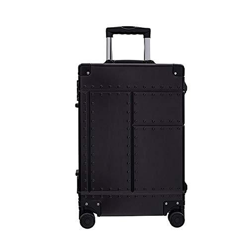 SFBBBO luggage suitcase Aluminum Alloy Frame Luggage Trolley Case Men Women Suitcase Spinner Wheels Rolling Luggage 25' Black