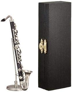 新品 ミニチュア楽器(フィギュア)バスクラリネット 黒 金属製・プラスチック 1/6(13cm)(飾り物で音は出ません)