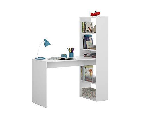 Habitdesign 008314A - Escritorio y estantería reversible, mesa de oficina o estudio acabada en color Blanco, 144 x 120 x 53 c